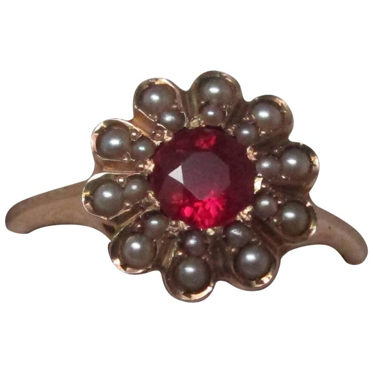 Seed Pearl Ruby Gold Ring