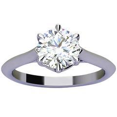 Ferrucci GIA Certified 1.00 Carat F Color VVS2 Clarity Platinum Solitaire Ring