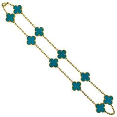 Van Cleef & Arpels Turquoise Vintage Alhambra Turquoise Ten Motif Necklace
