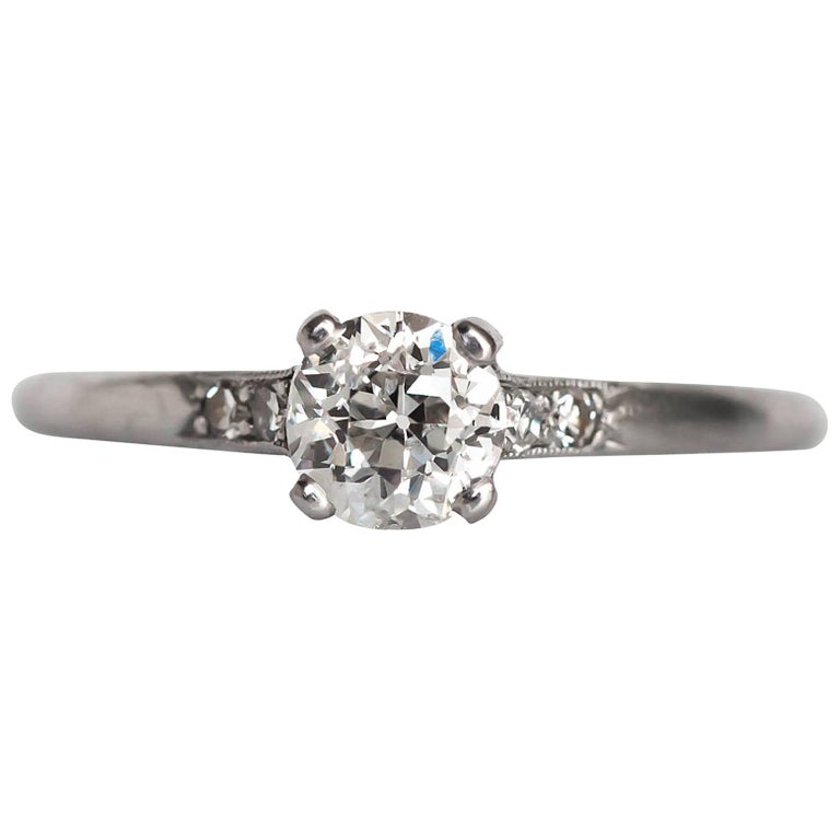 1905 Edwardian Platinum GIA Certified .66 Carat Diamond Engagement Ring For Sale