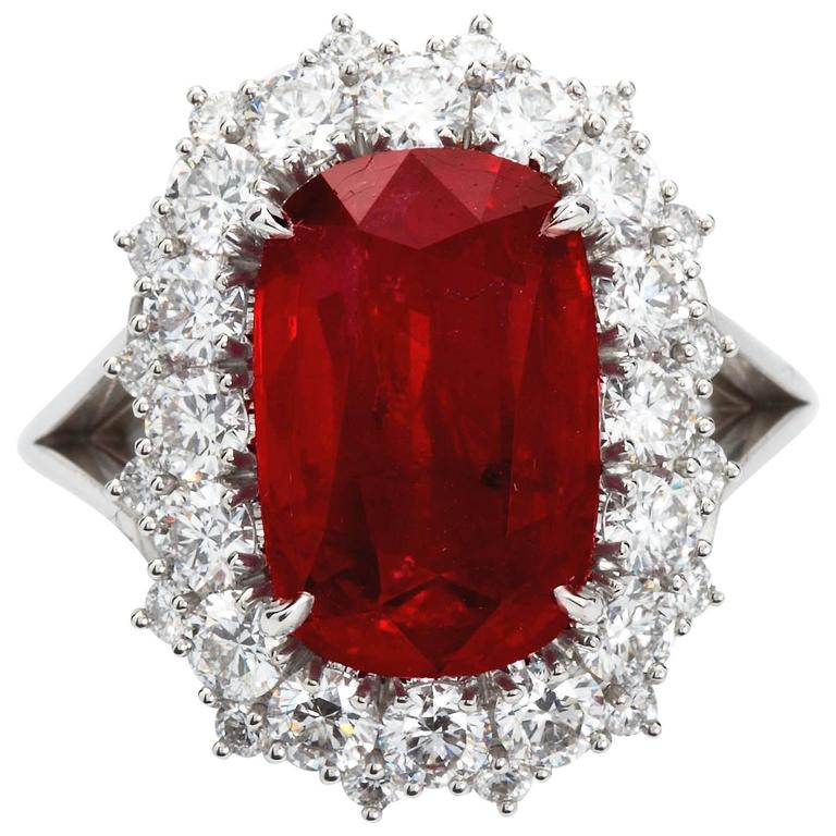 595 Carat Cushion Cut Pigeon Blood No heat Ruby Ring GRS Cert For