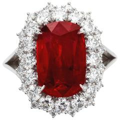 5.95 Carat Cushion Cut Pigeon Blood No heat Ruby Ring GRS Cert