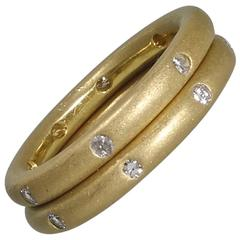 Pair of Diamond Gold Band Rings