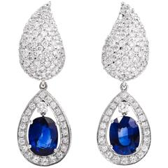 1980s Certified GIA Sapphire Diamond Day to Night Earrings