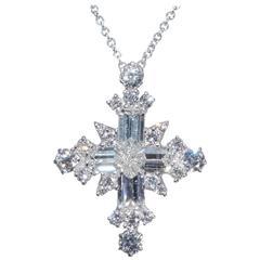 Platinum Diamond Snowflake Cross