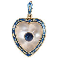 Victorian Moonstone Sapphire Gold Heart Pendant Locket Enamel