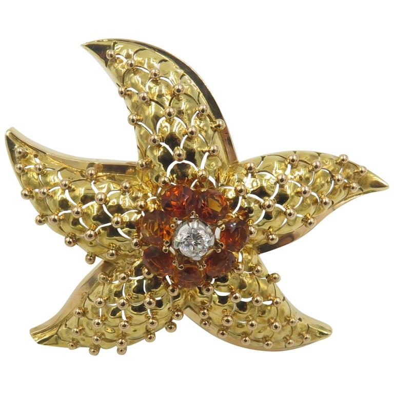 Citrine Diamond Gold Starfish Brooch