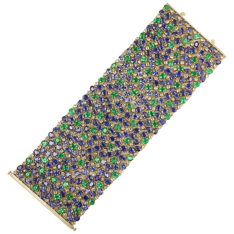 Julius Cohen Wide Diamond Emerald Sapphire Peacock Tapestry Bracelet