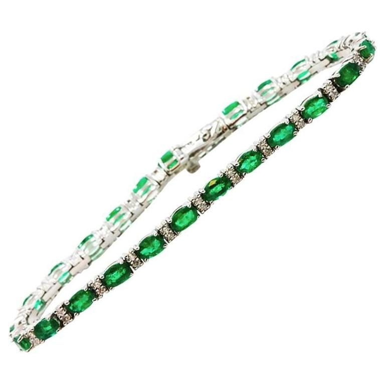 Emerald Diamond White Gold Bracelet