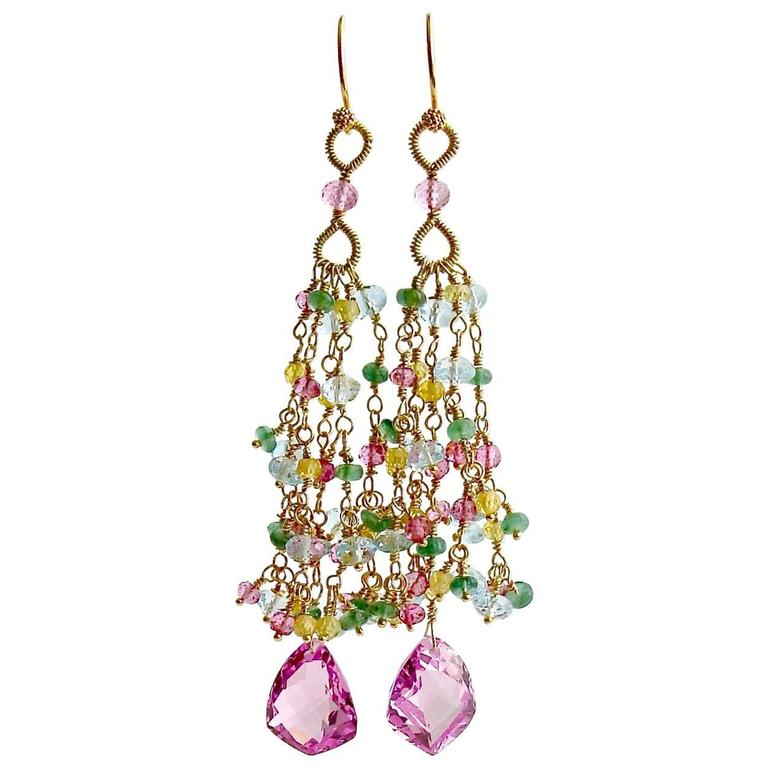Pink Topaz Emerald Blue Topaz Yellow Zircon Tassel Earrings 1