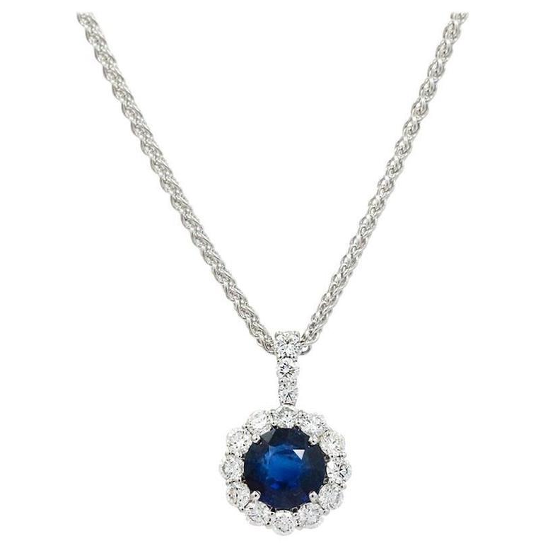 Sapphire Diamond White Gold Pendant