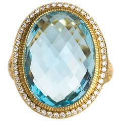 2010 Yellow Gold Judith Ripka 10 Carat London Blue Topaz and Diamond Ring