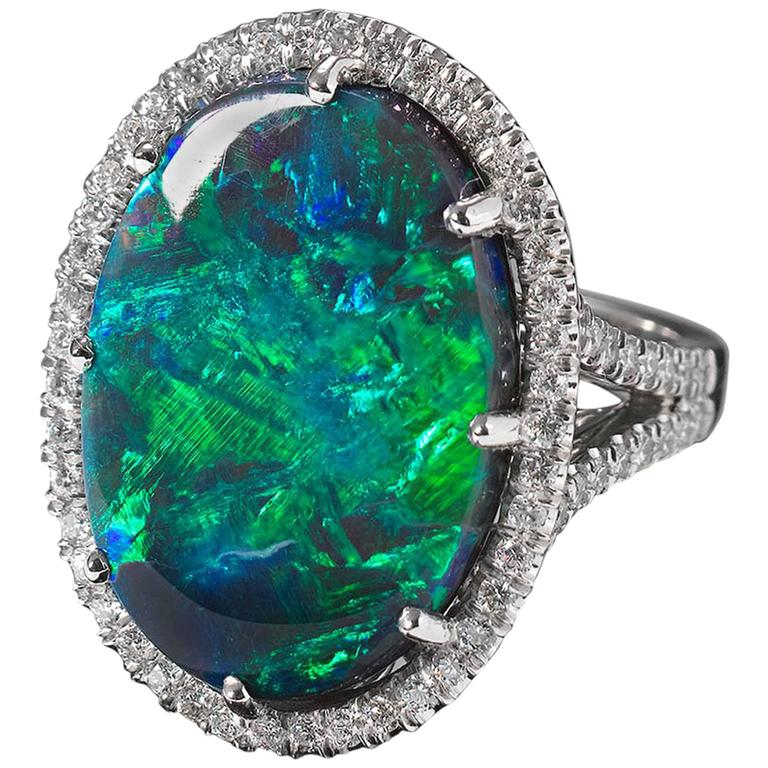 Lightning Ridge Black Opal and Diamond Ring