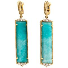2010 Yellow Gold Sky Blue Chalcedony and Diamond Judith Ripka Earrings