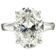 GIA Certified 5.01 Carat Oval Cut Diamond Classic Platinum Engagement Ring