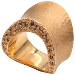 Hammered Rose Gold and Diamonds Ring