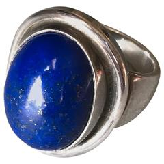 Georg Jensen Sterling Silver Lapis Lazuli Ring No. 46A by Harald Nielsen