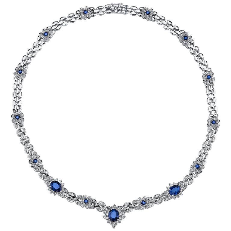 Sapphire Diamond Platinum Necklace