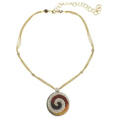 Valente Multi-Color Sapphire Diamond Gold Swirl Pendant Necklace