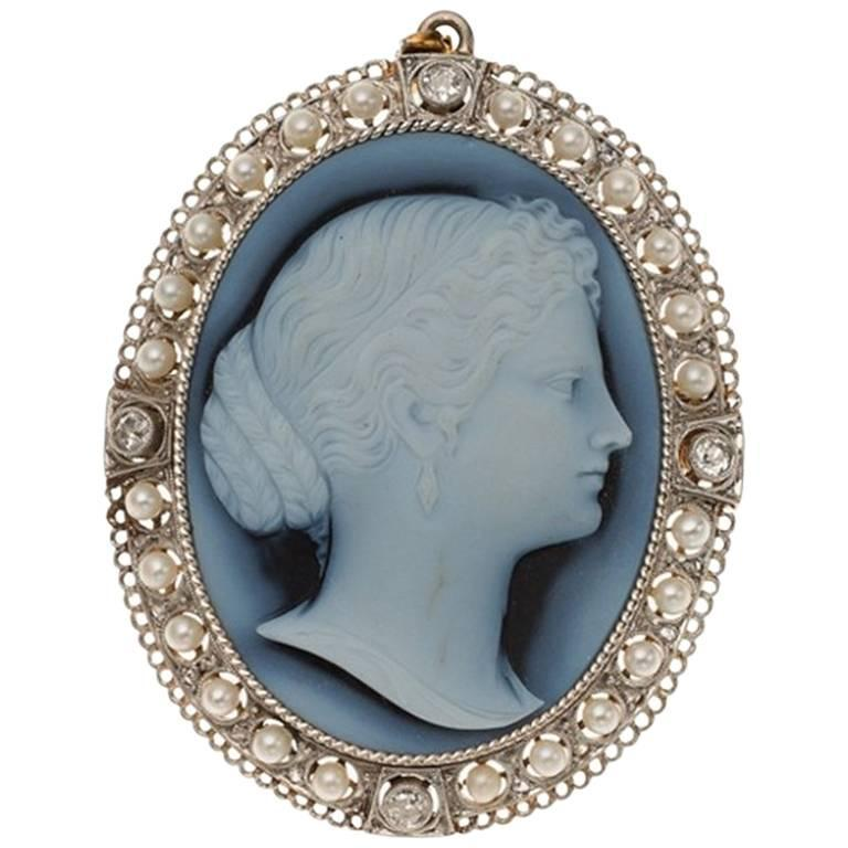 Victorian Hardstone Cameo Diamond Seed Pearl Gold Brooch Pendant