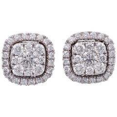0.75 Carats Diamonds White Gold Cluster Stud Earrings