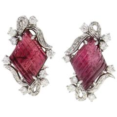 Tourmaline Diamond White Gold Earrings