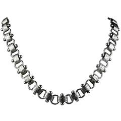 Antique Victorian Silver Collar Necklace, circa 1880