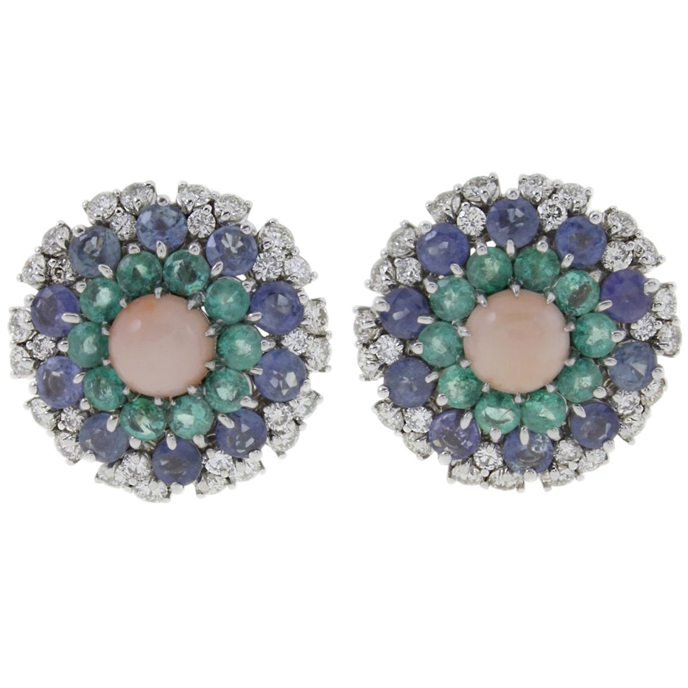 White Diamonds, Blue Sapphires, Emeralds, Pink Coral White Gold Stud Earrings
