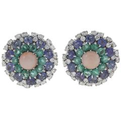 Luise Coral Sapphire Emerald Diamond Earrings