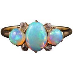 Antique Victorian Opal Diamond Gold Ring, circa 1880