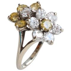 Mauboussin Fancy Yellow and White Diamond Cocktail Ring