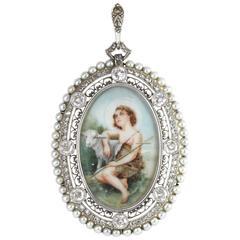Belle Époque Diamond and Pearl Frame Pendant