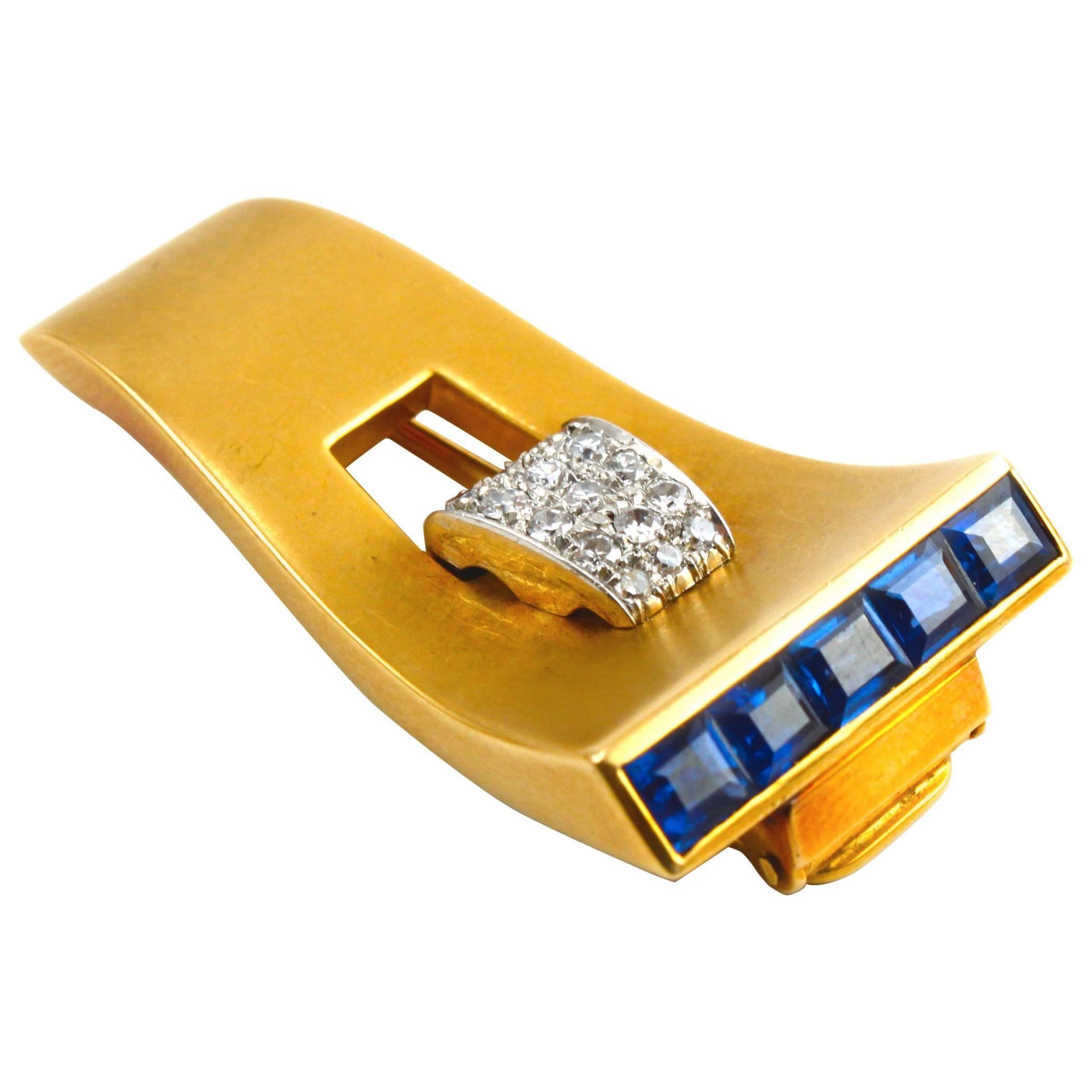 1940s 18k Gold Retro Sapphire and Diamond Clip Brooch