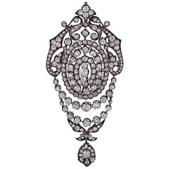 Silver-Topped Gold and Diamond Pendant Brooch