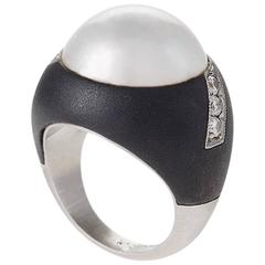 Marsh 1950's Century Pearl Diamond Patinated Steel Palladium Ring