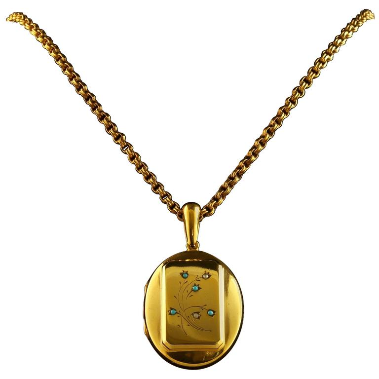 Antique Victorian Turquoise Gold Locket and Necklace For Sale
