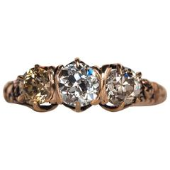 1870s Victorian GIA Certified Three Stone Diamond Rose Gold Engagement Ring