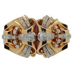 1930s Retro Diamond Rose Gold Detachable Double Clip Bangle Bracelet