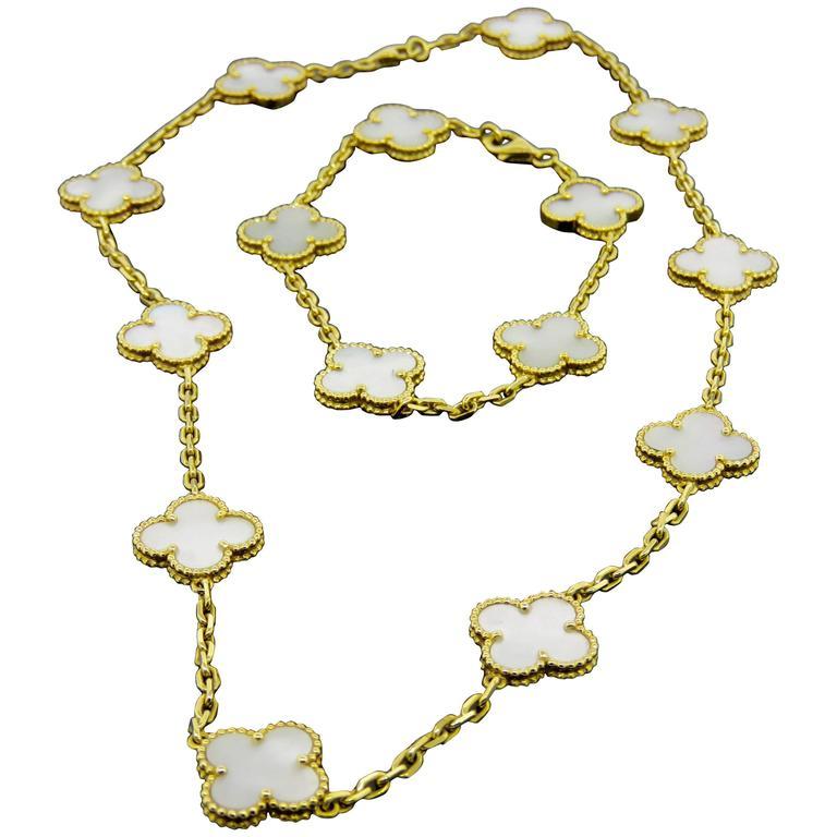 Van Cleef & Arpels Alhambra Mother-of-Pearl Necklace and Bracelet Set 1