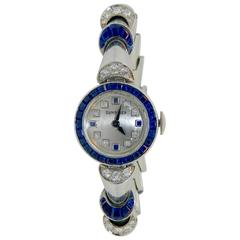 Oscar Heyman Ladies Platinum Diamond Sapphire Wristwatch