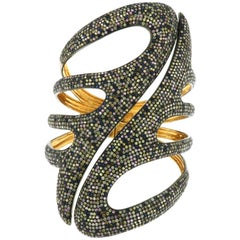 Multicolor Sapphire Diamond Gold Cuff Bracelet