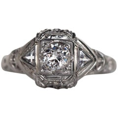 1930s Art Deco GIA Certified .35 Carat Diamond White Gold Engagement Ring
