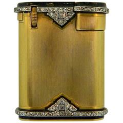 Cartier Paris Art Deco Enamel Diamond Gold Platinum Lighter