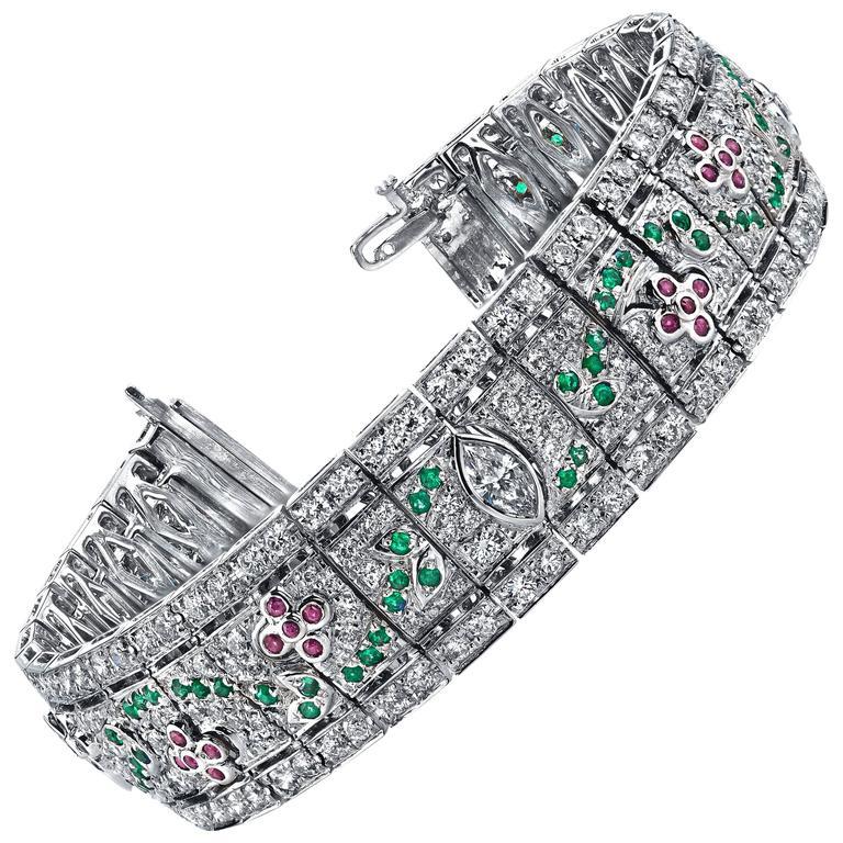Diamond Ruby Emerald Gold Bracelet