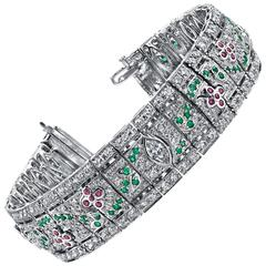 Diamond Ruby Emerald Gold Bracelet