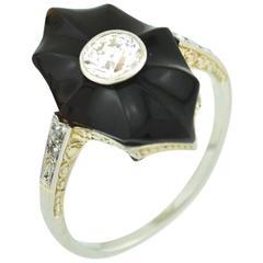 Art Deco Onyx and Diamond White Gold Ring