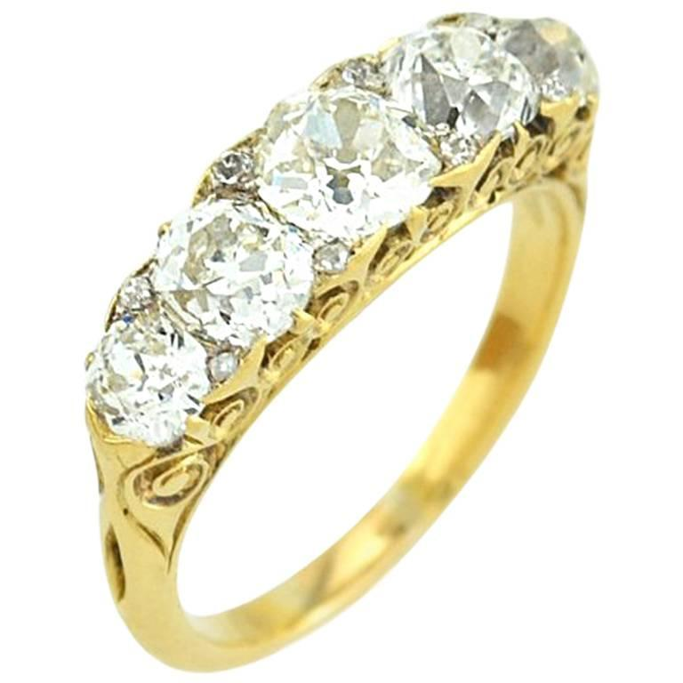 Stunning Victorian Five Stone Old Mine Cut Diamond Ring 1