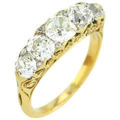 Victorian Five Stone Old Mine Cut Diamond and Gold Ring