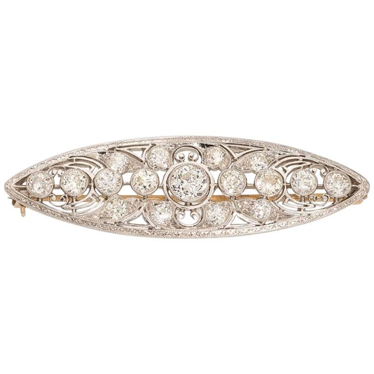Edwardian Diamond Platinum Pin Brooch