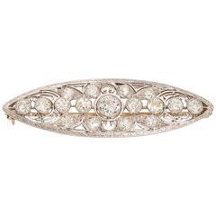 Edwardian Diamond Platinum Navette Brooch